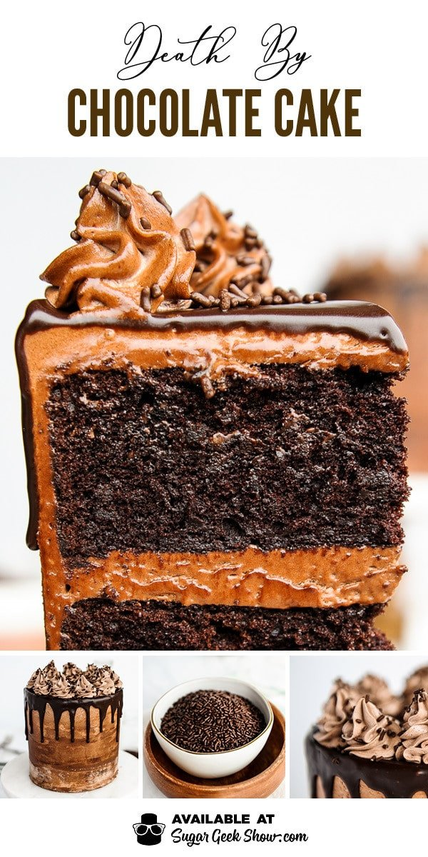death by chocolate cake made with dark beer, mayonnaise, espresso powder and chocolate chips. This is the most decadent chocolate cake recipe for chocolate lovers!