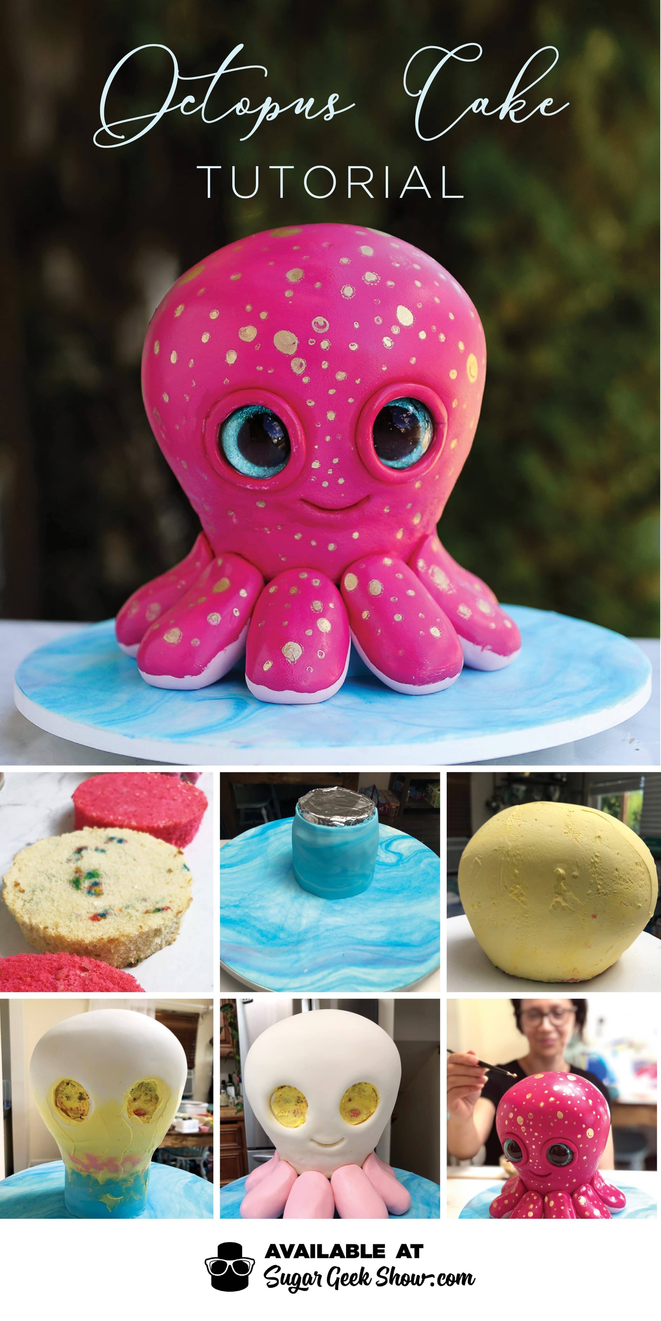 This adorable octopus cake is so fun to make! Easy cake structure, simple sculpting, edible glitter eyes and so much more!