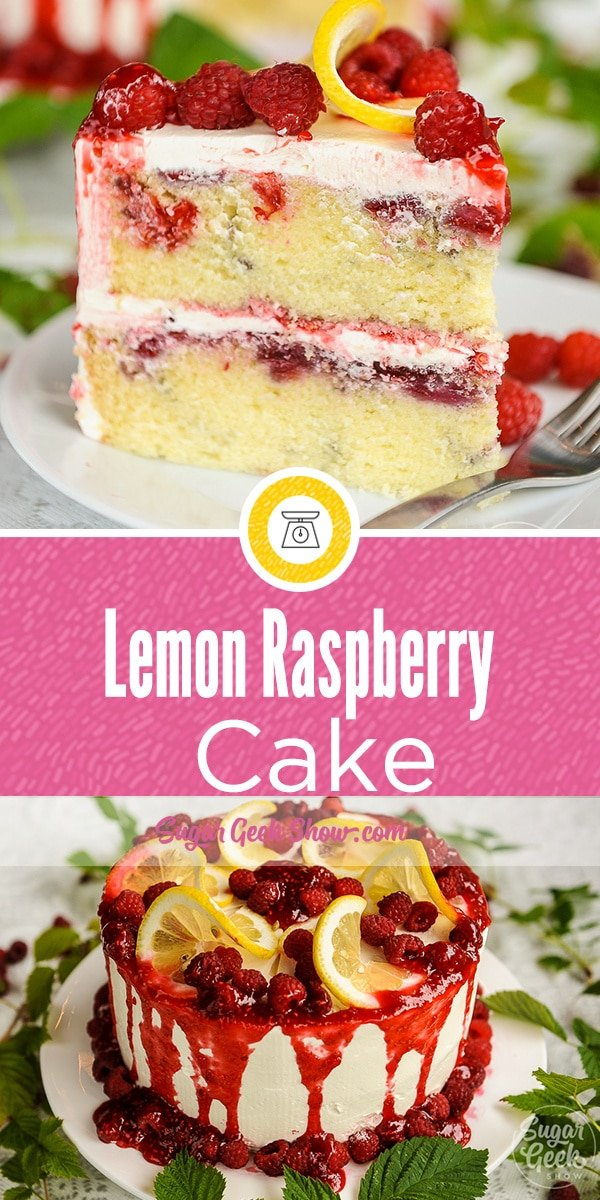 Lemon raspberry cake slice on plate with a fork and lemon raspberry cake with raspberry drip. Fresh raspberries and lemons on top of the cake