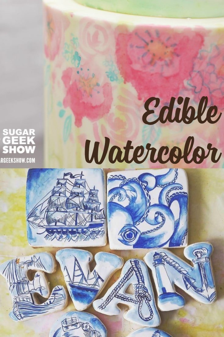 Edible watercolor is the perfect medium to use on pretty much anything. Fondant, gumpaste, modeling chocolate, royal icing, wafer paper and more.