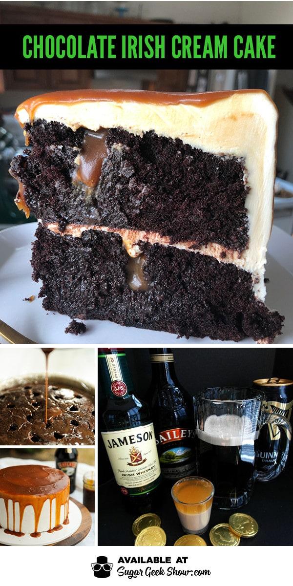 Chocolate Irish cream cake is a decadent Guinness beer cake filled with Bailey's Irish cream sauce and frosted with Bailey's white chocolate ganache.