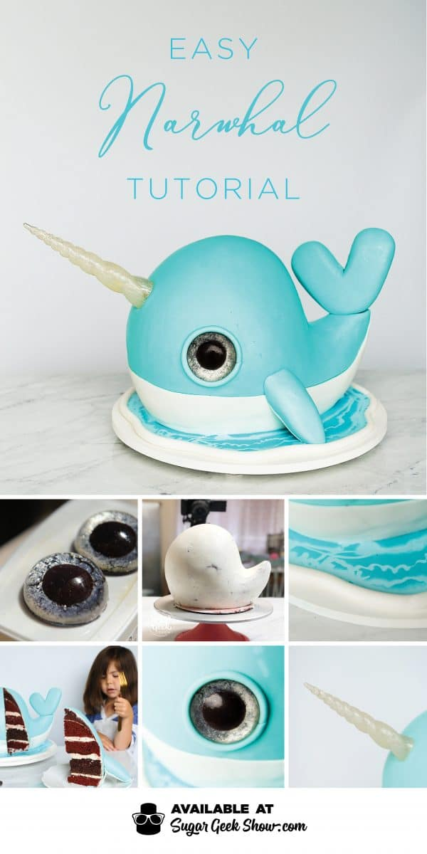 Learn how to make a simple narwhal cake with shiny sugar horn, glitter eyes and chocolate water effect. Dive into cake decorating with this fun tutorial!