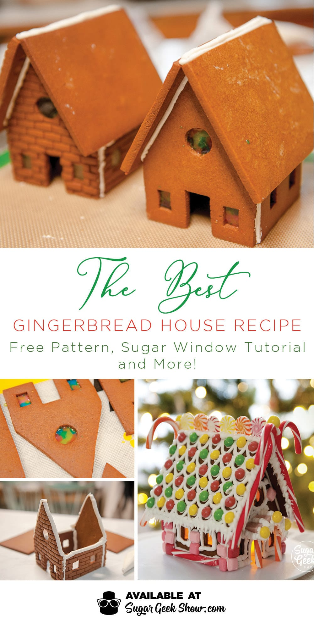 The best gingerbread house recipe! Super strong, no-spread dough, free gingerbread house pattern, how to make sugar windows for gingerbread houses and more!