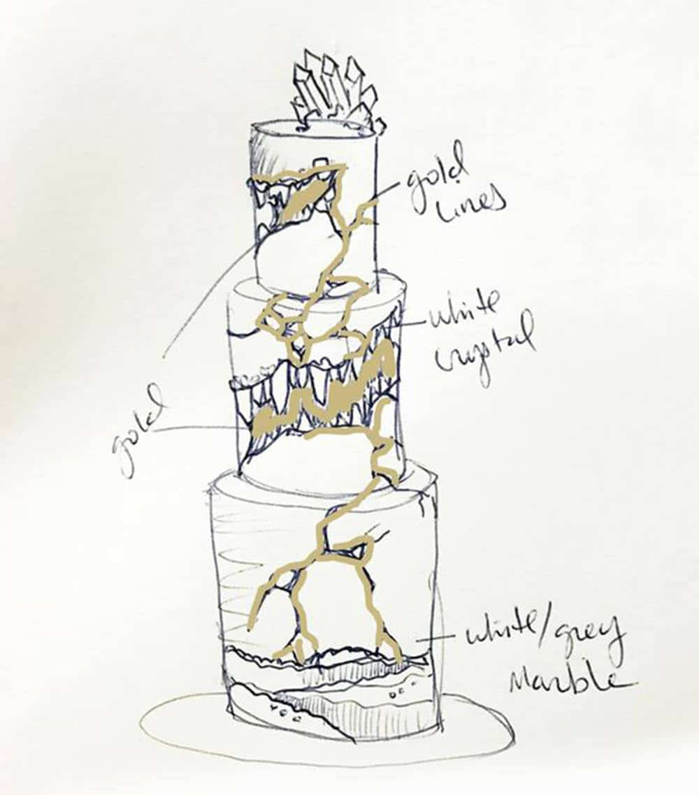 kintsugi cake sketch