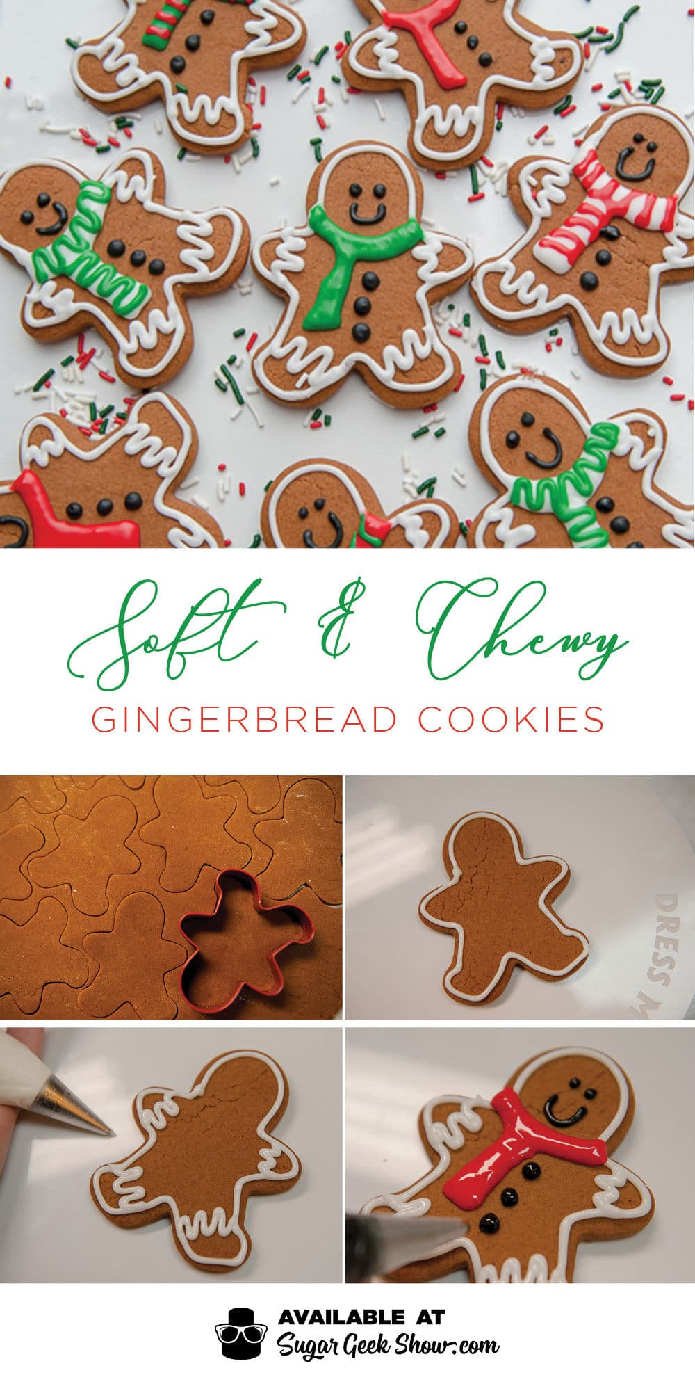 Soft and chewy gingerbread cookies get their amazing texture from butter, brown sugar and molasses! Super simple no-spread recipe and easy piping tips for the cutest gingerbread men cookies ever