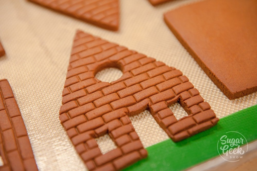 brick texture on gingerbread house