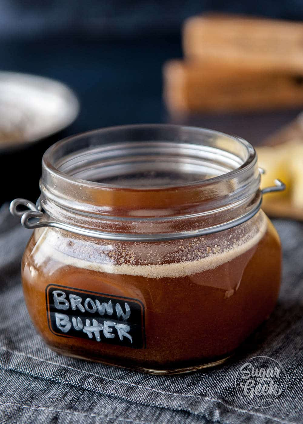 brown butter in clear jar