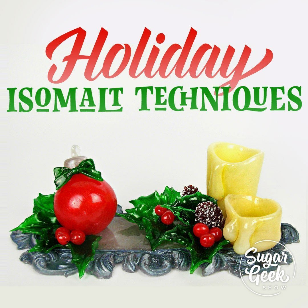 Guest instructor Sidney Galpern of SimiCakes joins us for this holiday-themed isomalt tutorial. Sidney is a master of isomalt techniques and brings us a wealth of knowledge for this fun isomalt centerpiece project!