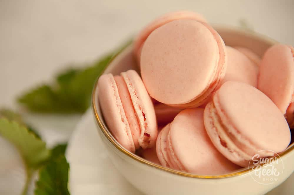 delicious strawberry macaron with strawberry buttercream filling