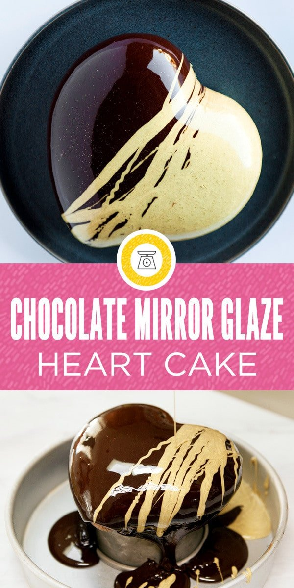 This gorgeous shiny chocolate mirror glaze cake covers a creamy mousse and strawberry filling and light and fluffy chocolate joconde cake. The gold mirror glaze accent looks so incredible and the whole mirror glaze cake makes a beautiful and stunning dessert for a special occasion like valentines day!