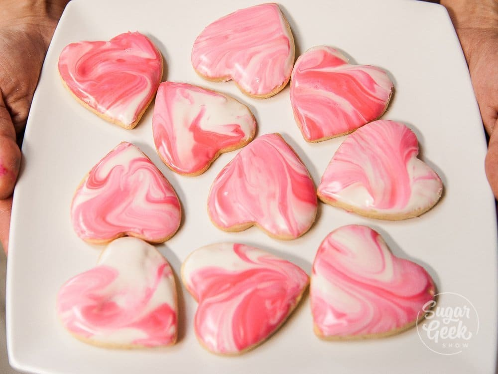 marbled valentines day cookies