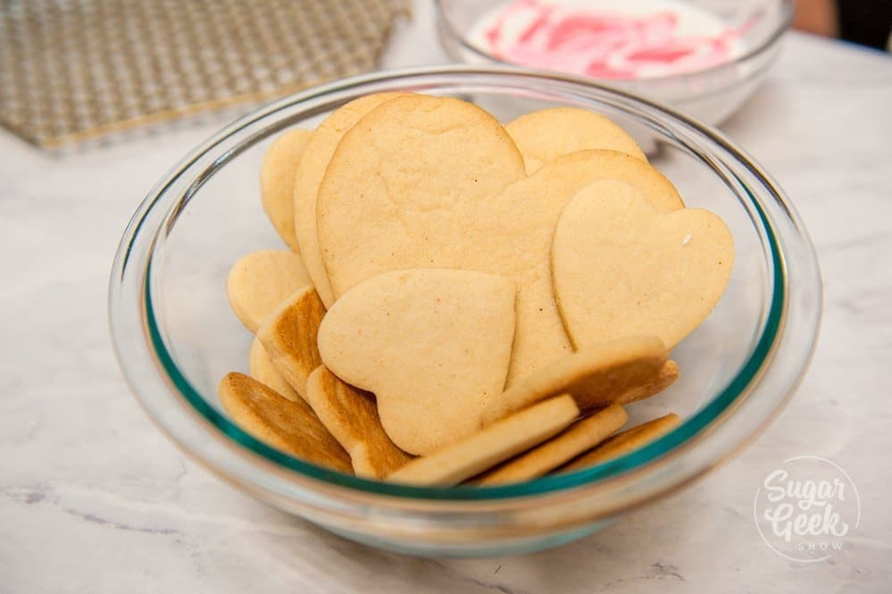 sugar cookies for valentines day ready to be decorated