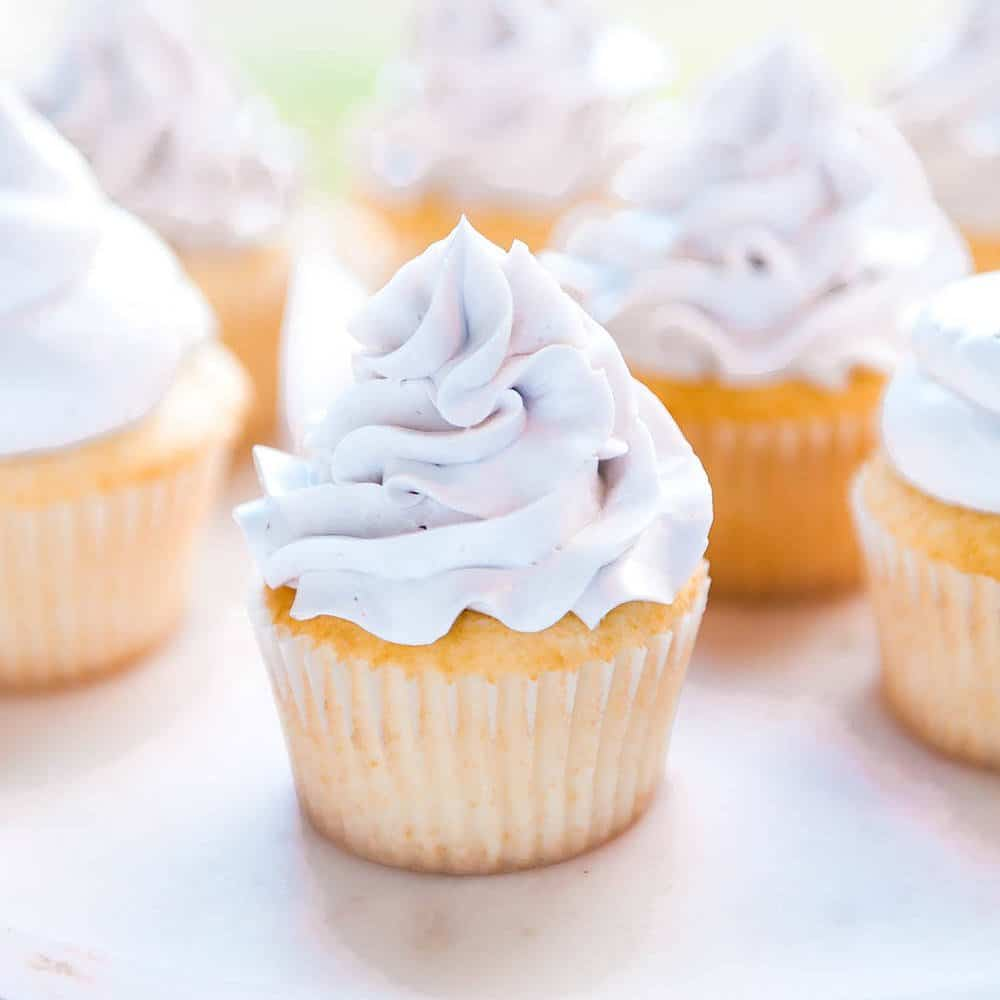 This is seriously the best vanilla cupcake recipe I've ever tasted! The buttermilk and the oil make these vanilla cupcakes SO fluffy and moist! I could not stop eating them! The only cupcake recipe you'll ever need