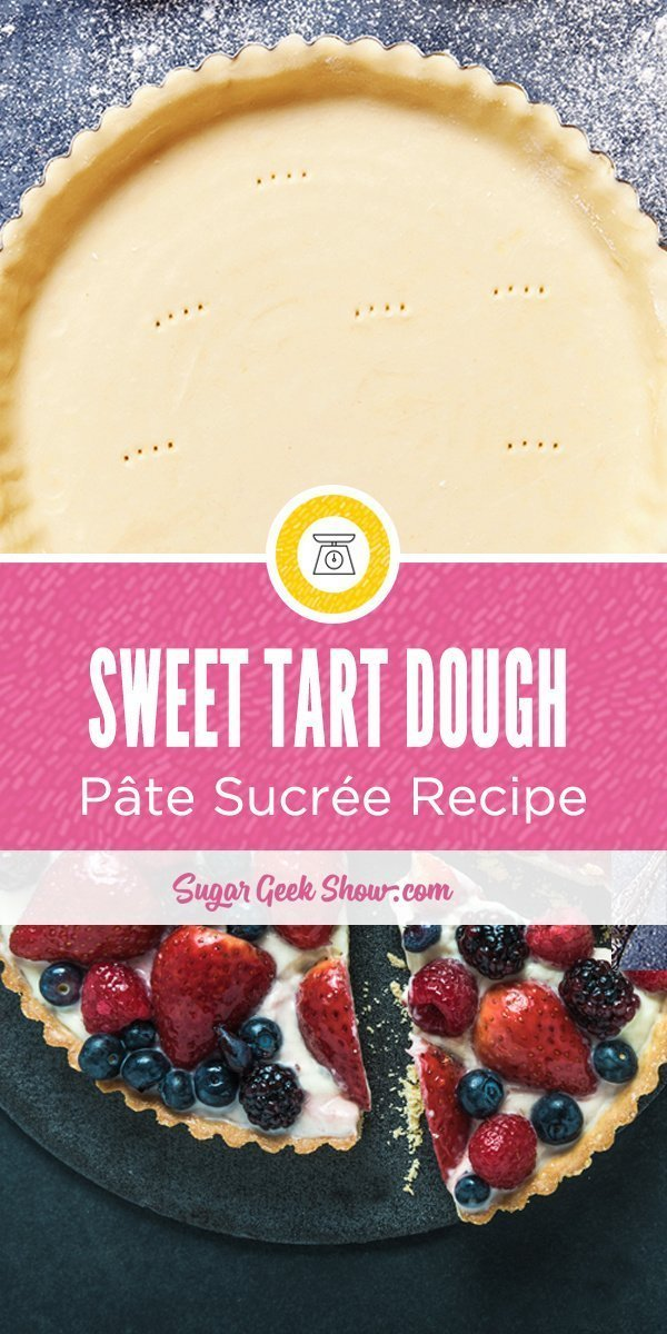 Pâte Sucrée is a sweet shortcrust dough usually used for making fruit tarts. It is buttery, flaky and oh-so-easy to make! Freeze leftover Pâte Sucrée dough to use later