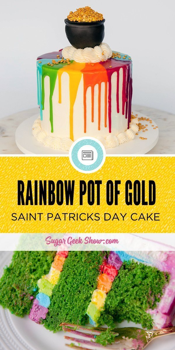 rainbow pot of gold drip cake for saint patricks day