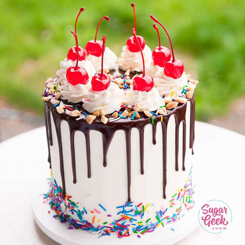 Banana Split Cake (with Chocolate Drip)
