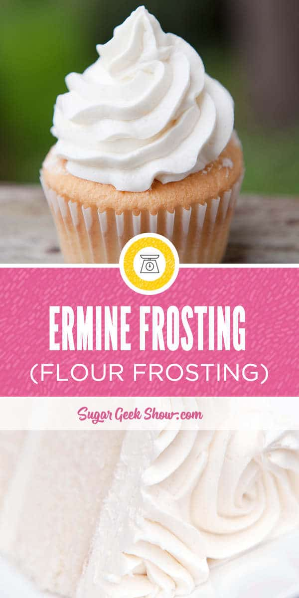 Ermine frosting made from boiled milk, flour, sugar and vanilla is light, fluffy and very much like whipped cream in texture. Ermine frosting is a traditional frosting that is typically paired with red velvet cake and is not very sweet which makes it very popular