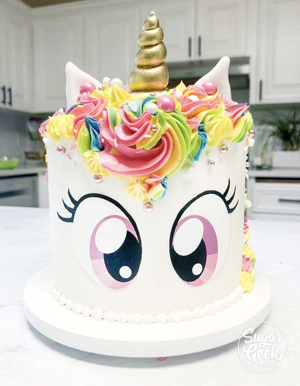 Rainbow Unicorn Cake Tutorial Free Eye Printable Sugar