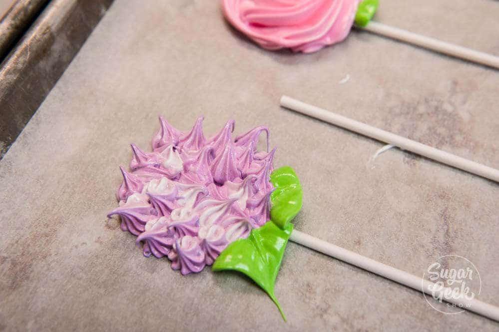 hydrangea meringue pop
