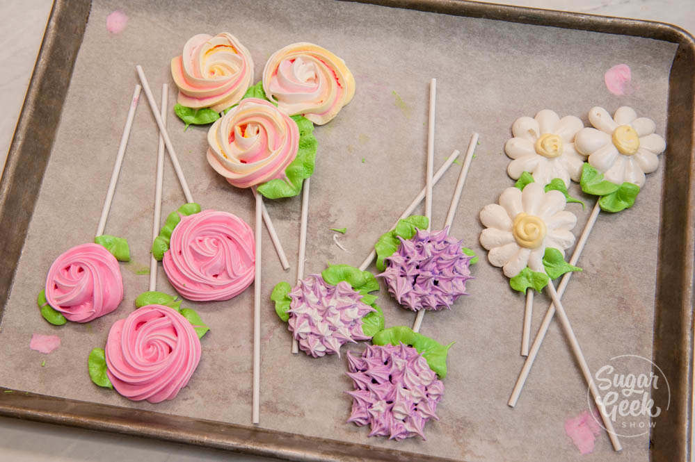 flower meringue pops