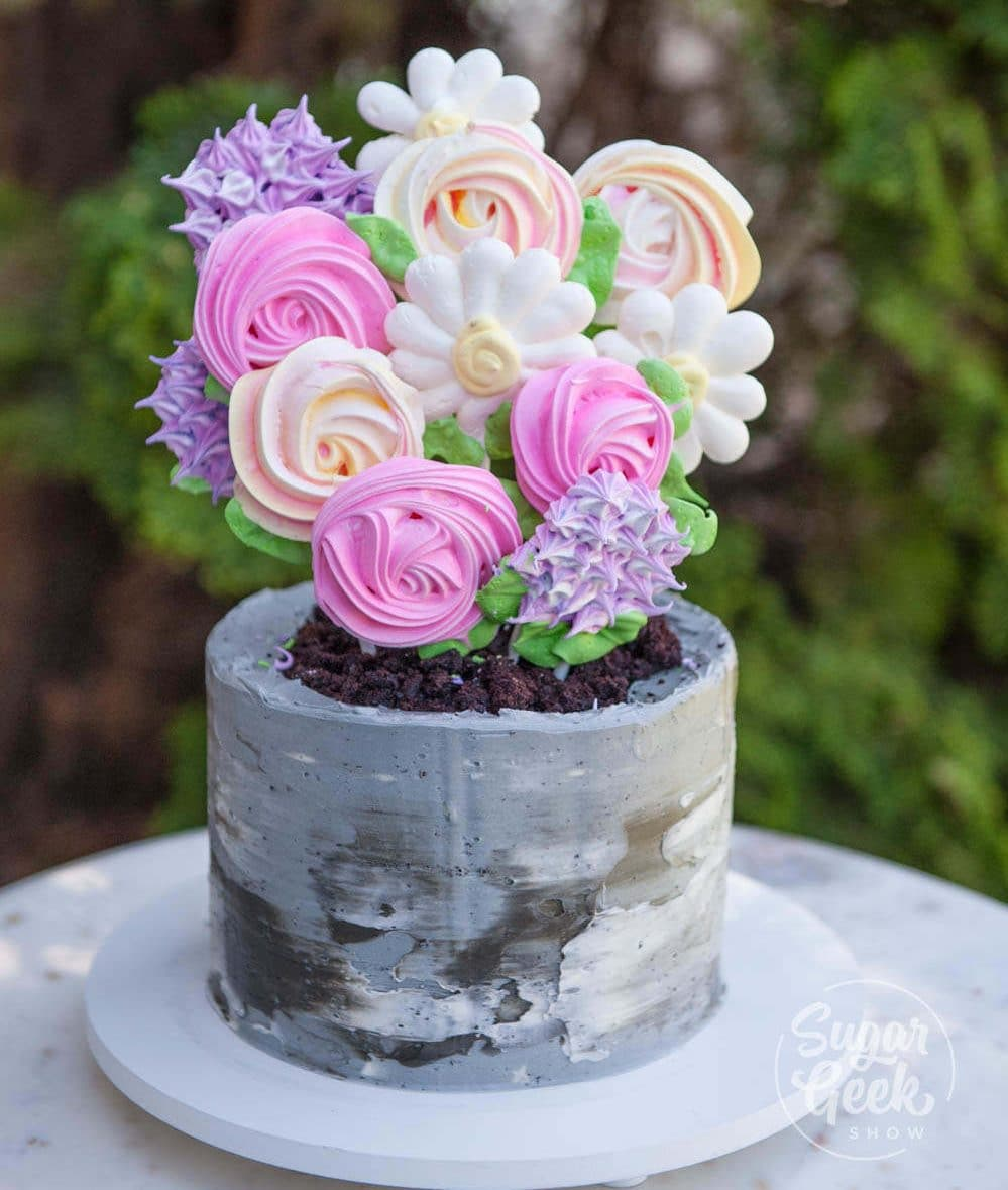 meringue pop flower pot cake with buttercream concrete texture