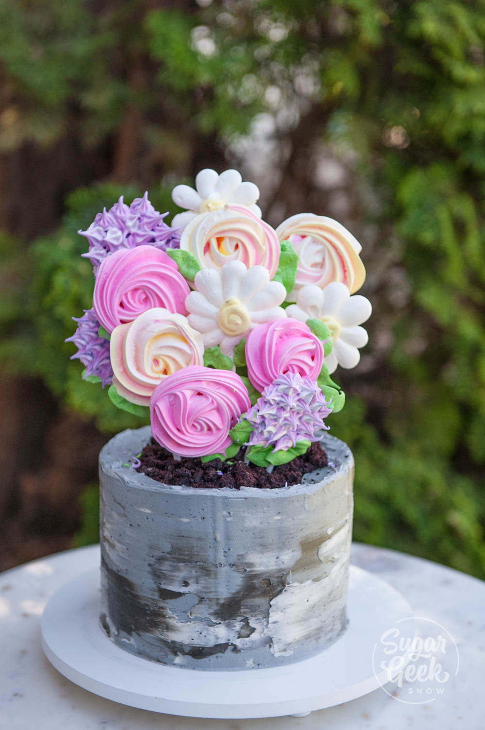 Flower Meringue Pops And Concrete Flower Pot Cake Tutorial Sugar Geek Show