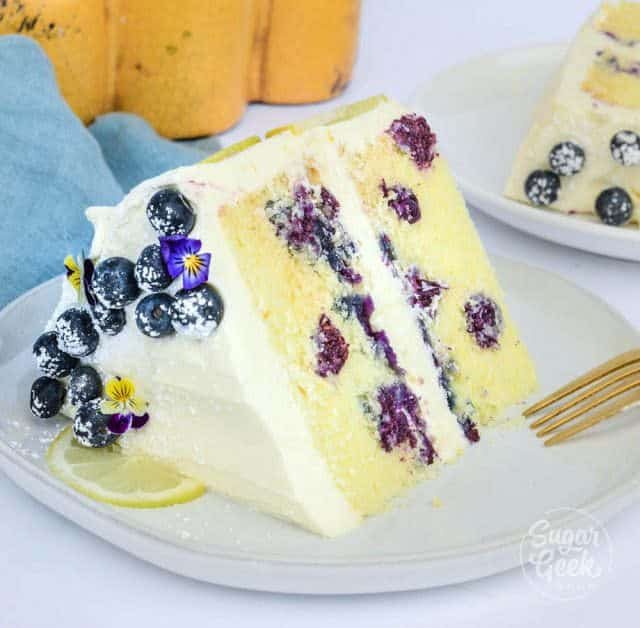 lemon blueberry cake slice with fresh blueberries and cream cheese frosting