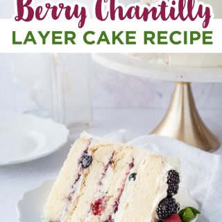 pinterest image for berry chantilly cake