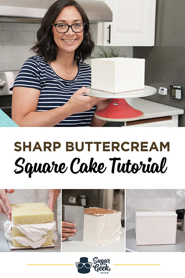 How to make a square buttercream cake with sharp edges and corners using the upside-down technique
