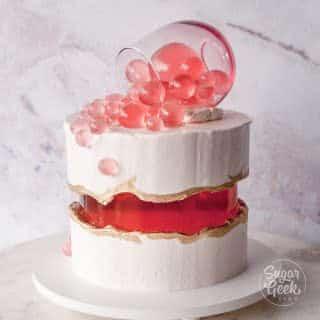 Rosé wine fault line cake