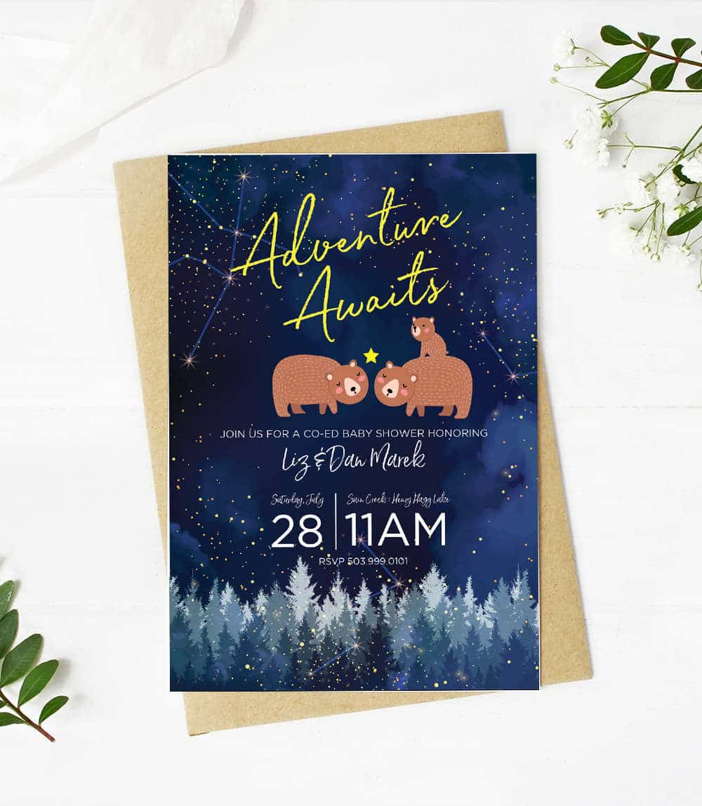 adventure awaits bear baby shower invitation