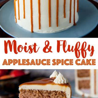 pinterest image for applesauce spice cake