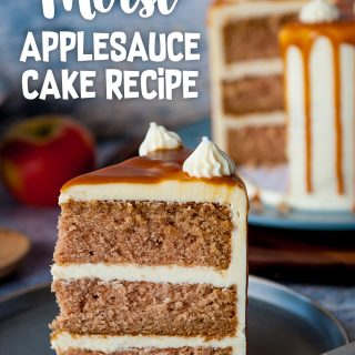 pinterest image for applesauce cake recipe