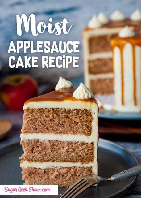 pinterest image for applesauce cake recipe