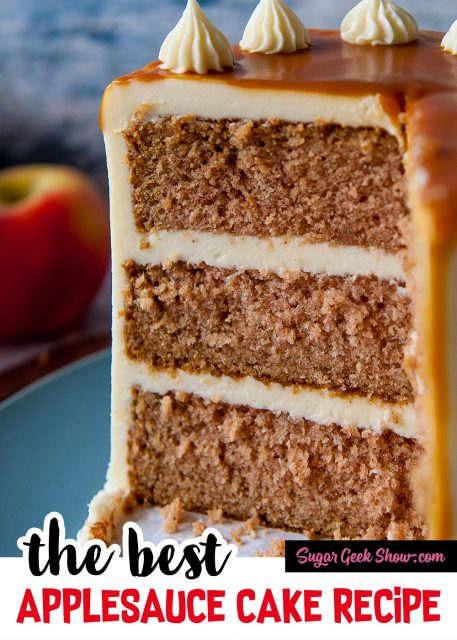 pinterest image for applesauce spice cake