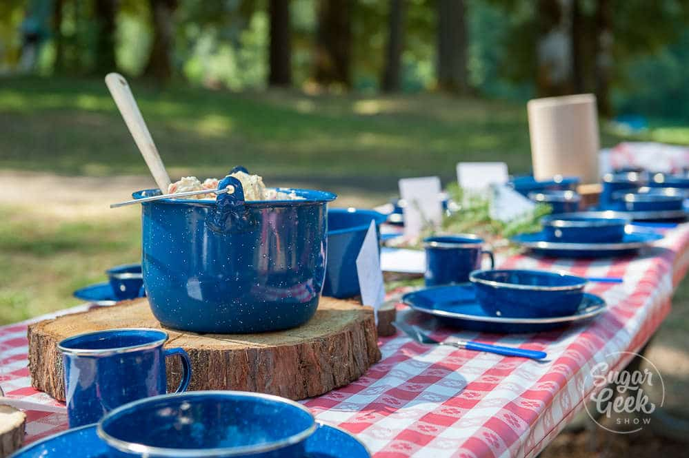 blue camping plates for outdoor baby shower at the lake