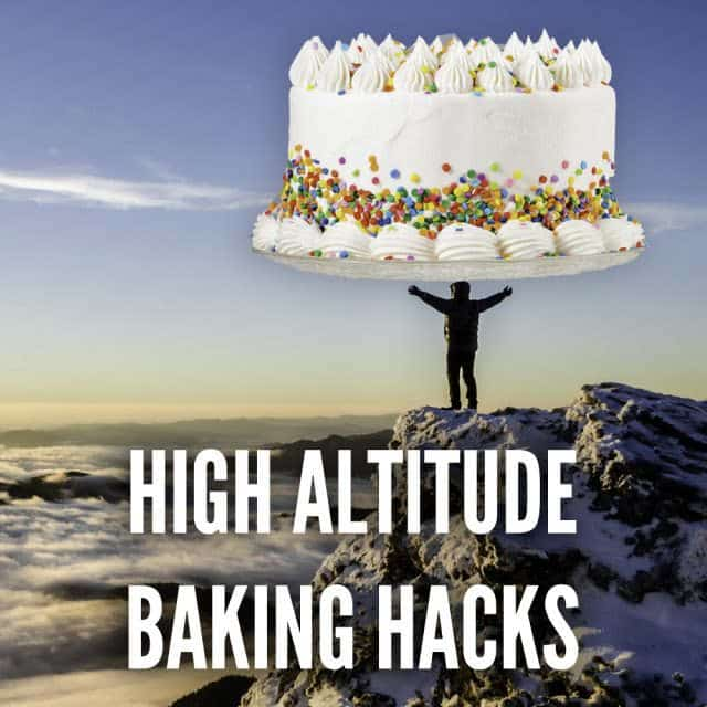 high altitude baking hacks. Baker stands at the top of a mountain holding a giant frosted cake with sprinkles