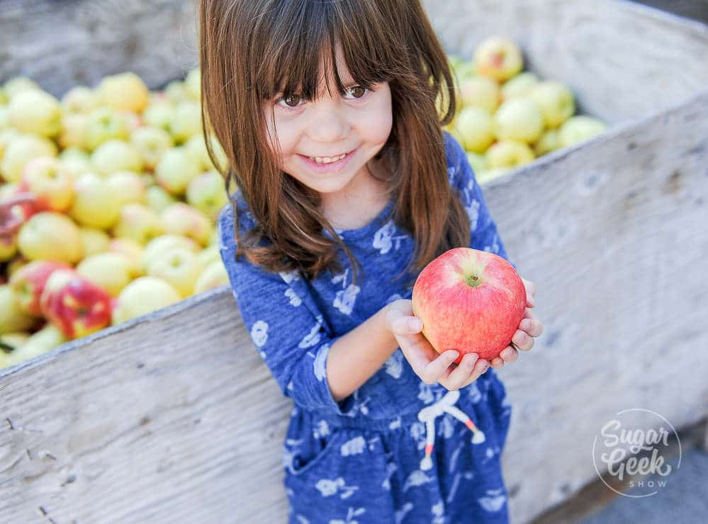 Little girl in blue dress holding an apple