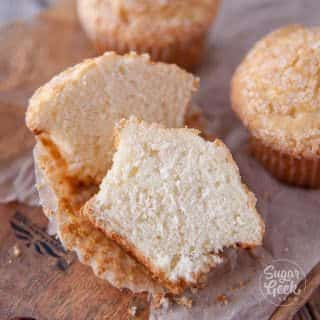 muffin cut in half to show the fluffy texture inside