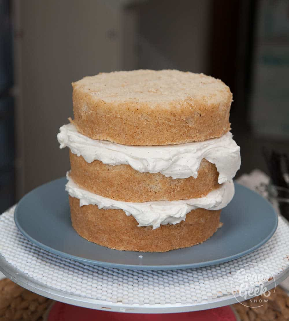 brown butter cake layers with frosting in between