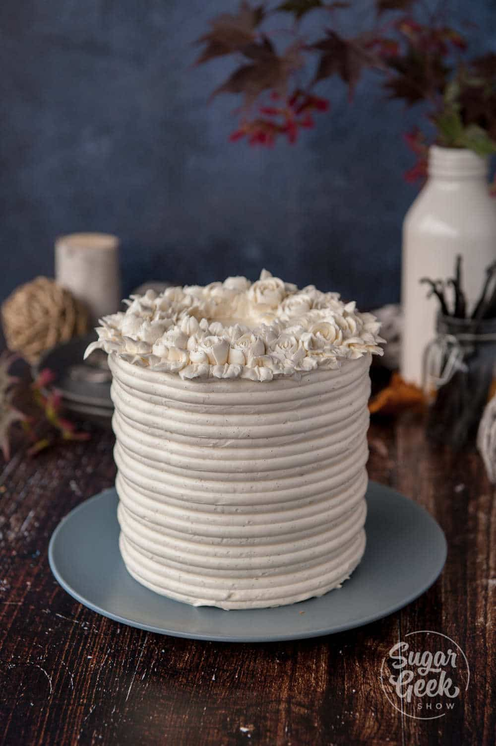 brown butter cake with vanilla bean buttercream flowers