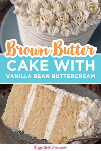 pinterest image for brown butter cake with vanilla bean buttercream
