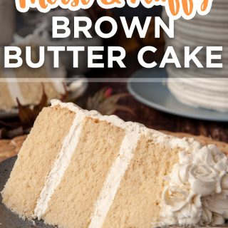 pinterest image for brown butter cake