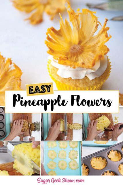 pinterest image for dried pineapple flower tutorial