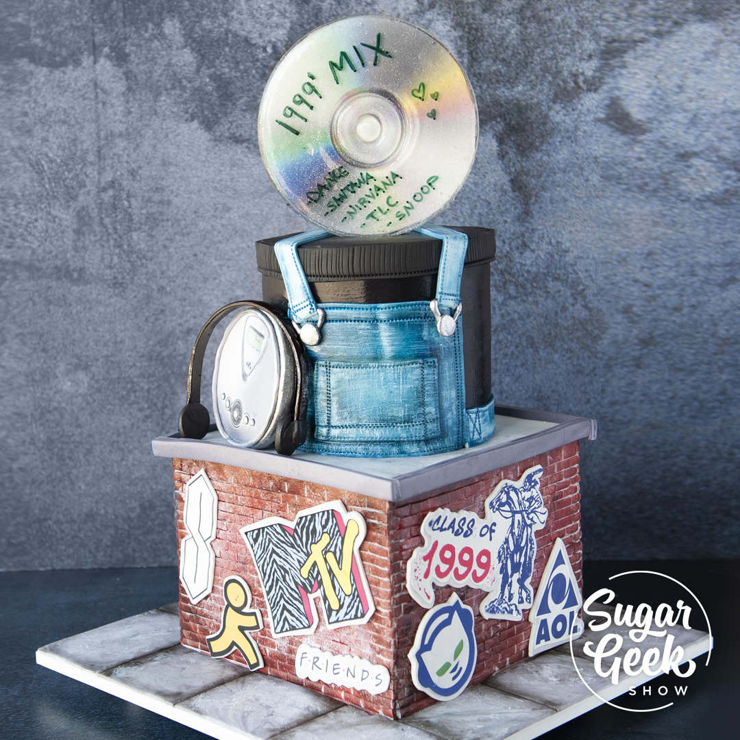 1990's Cake tutorial, with step-by-step instructions on how to make this grunge-inspired cake, only on sugargeekshow.com