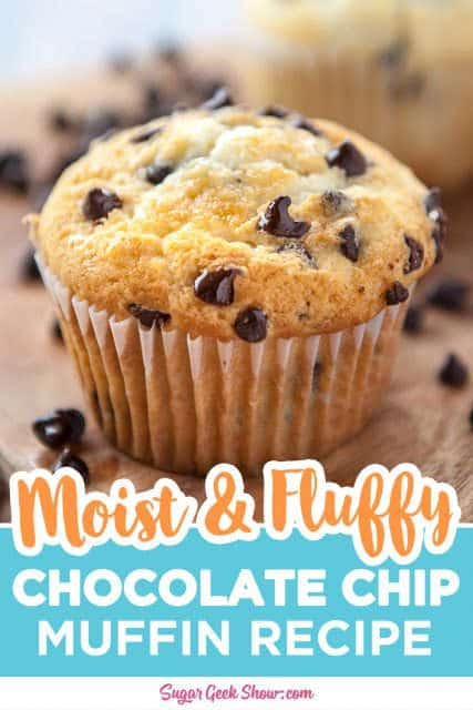 pinterest image for chocolate chip muffins