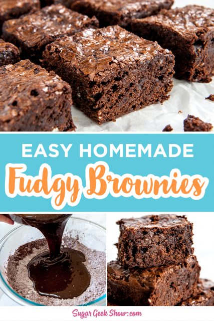 pinterest image for easy homemade fudgy brownies