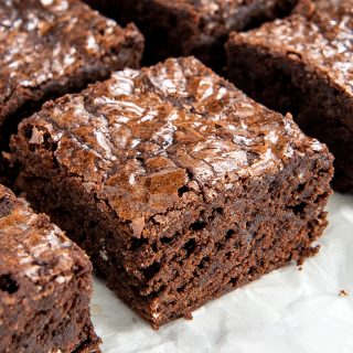 closeup of easy homemade fudgy chocolate brownies