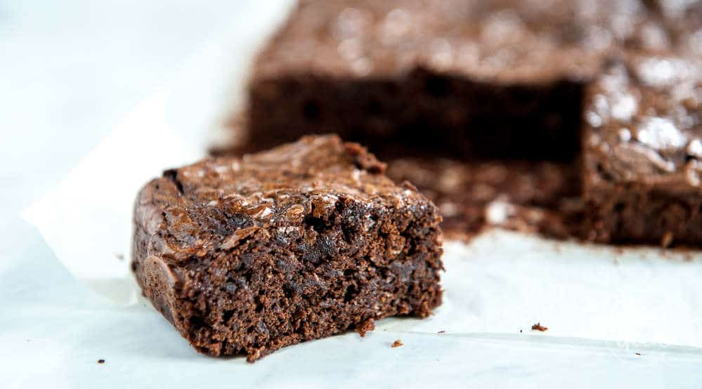 closeup of fudgy homemade brownie from scratch