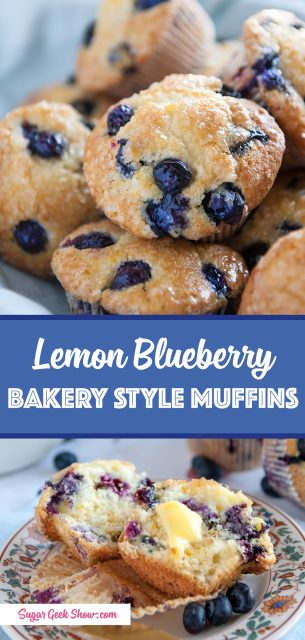 pinterest image for lemon blueberry muffin recipe